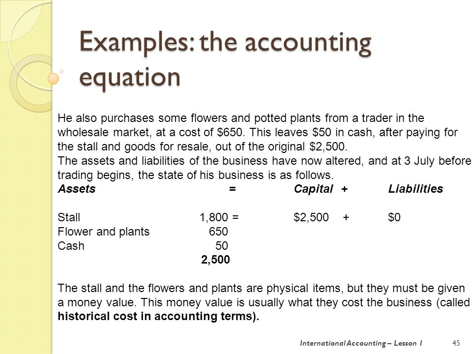 Examples: the accounting equation 46 On 3 July Mr XY has a very successful day.