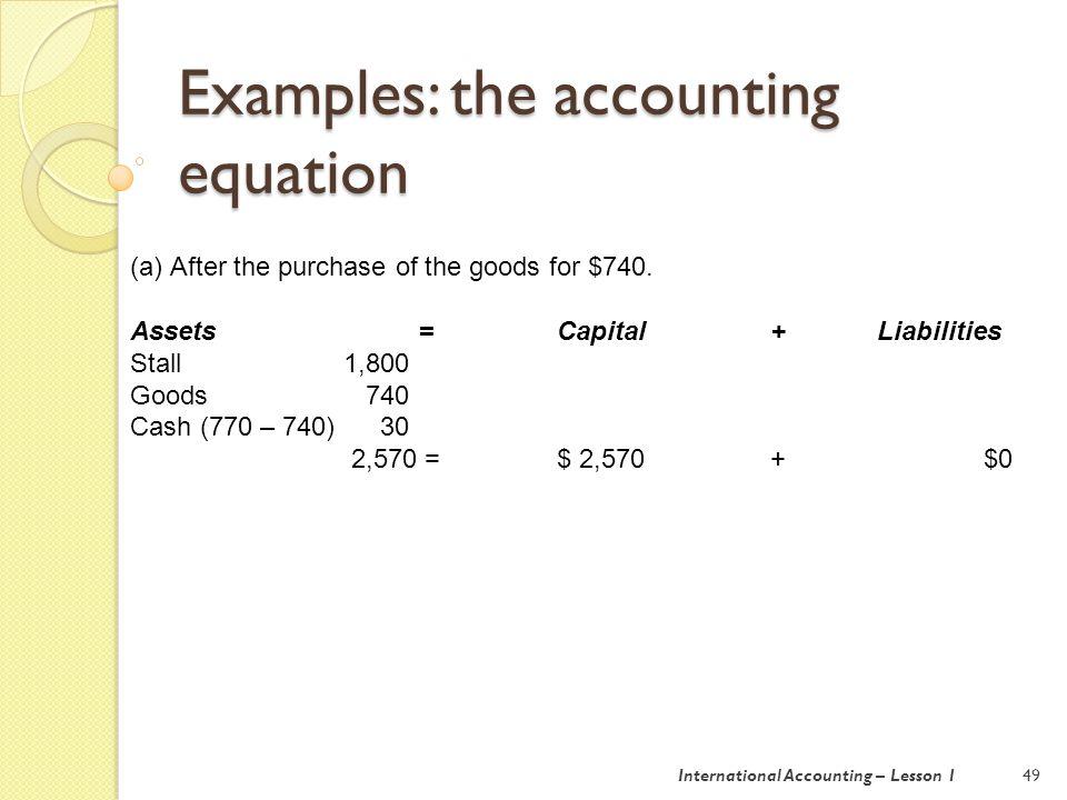 Examples: the accounting equation 50 (b) On 10 July, all the goods are sold for $1,100 cash, and Ethel is paid $40.