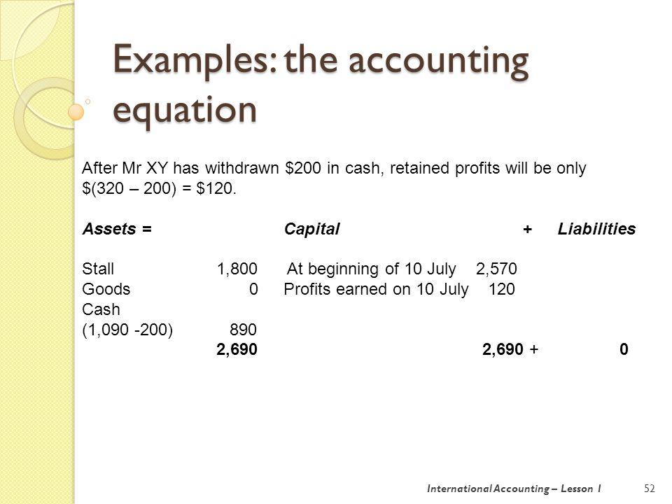 Examples: the rules of double entry bookeeping 53 In terms of T accounts: ASSET LIABILITY CAPITAL DEBIT $ CREDIT $ DEBIT $ CREDIT $ DEBIT $ CREDIT $ Increase Decrease Decrease Increase Decrease Increase For income and expenses, think about profit.