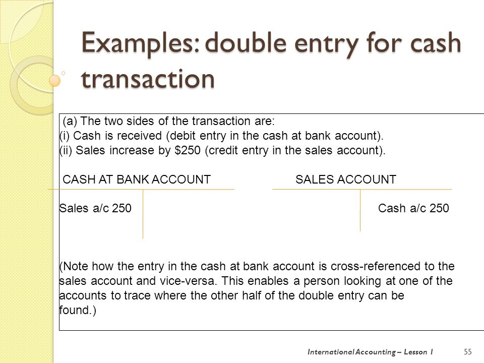Examples: double entry for cash transaction 56 (b) The two sides of the transaction are: (i) Cash is paid (credit entry in the cash at bank account).