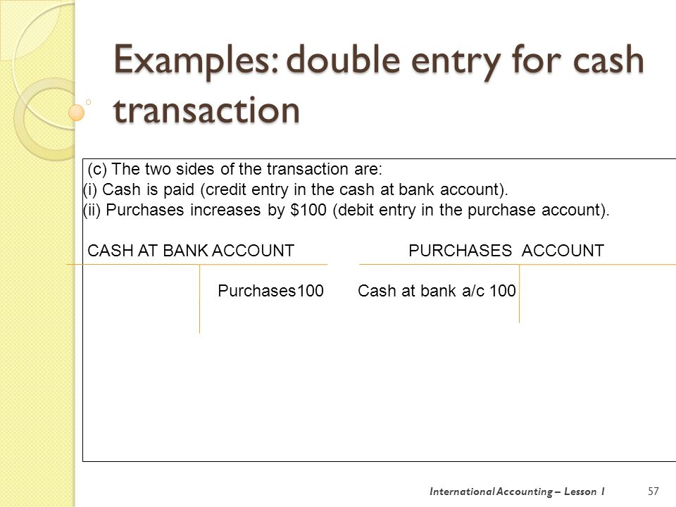 Examples: double entry for cash transaction 58 (d) The two sides of the transaction are: (i) Cash is paid (credit entry in the cash at bank account).
