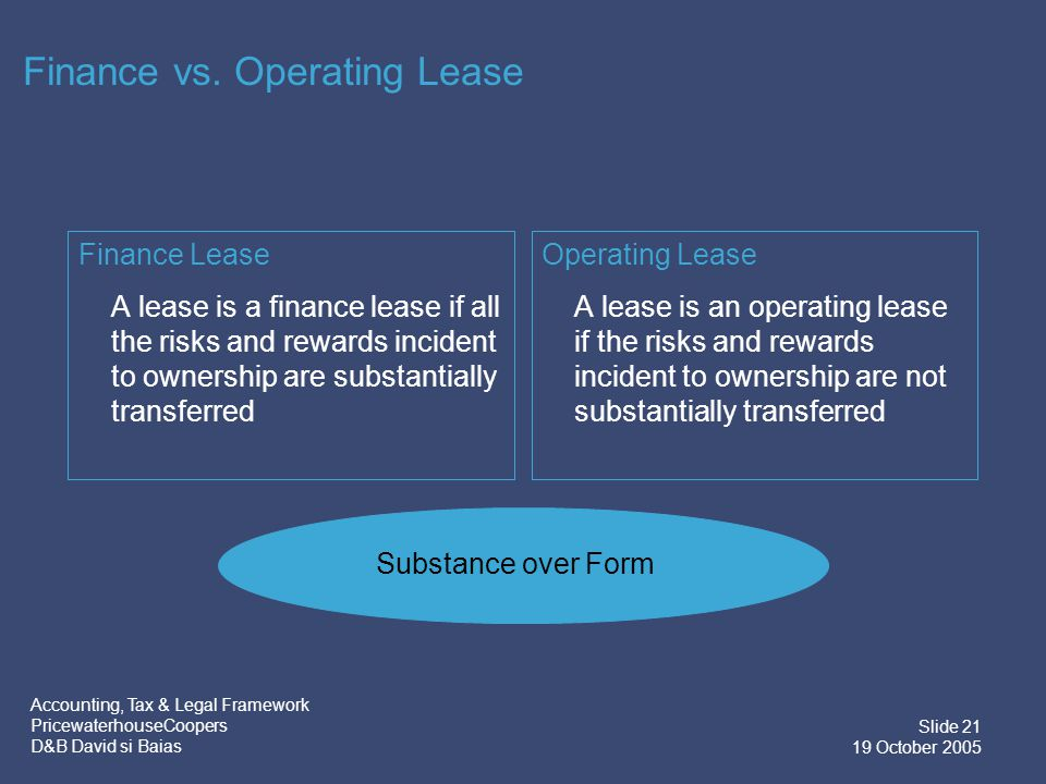 Accounting, Tax & Legal Framework PricewaterhouseCoopers D&B David si Baias Slide 22 19 October 2005 Finance Lease or Operating Lease.