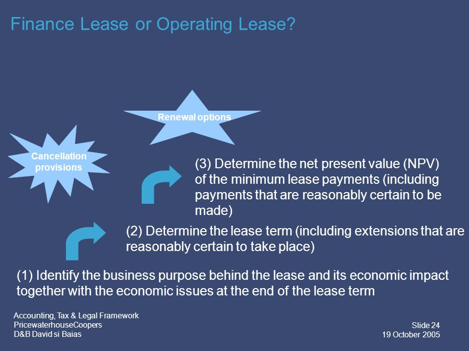 Accounting, Tax & Legal Framework PricewaterhouseCoopers D&B David si Baias Slide 25 19 October 2005 Finance Lease or Operating Lease.