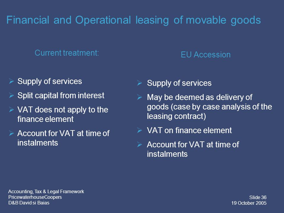 Accounting, Tax & Legal Framework PricewaterhouseCoopers D&B David si Baias Slide 37 19 October 2005 Intracommunity and cross border leasing Current treatment Leasing of:  movable tangible property – where the beneficiary is located EU Accession New rules:  movable tangible property except means of transport – where the beneficiary is located  means of transport – where the supplier is located  Treatment varies between EU members  Use & enjoyment for leasing transactions with non-EU parties