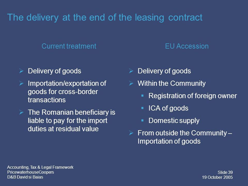 Accounting, Tax & Legal Framework PricewaterhouseCoopers D&B David si Baias Slide 40 19 October 2005 Current Road… Imagine a truck transporting goods…… Romania Hungary
