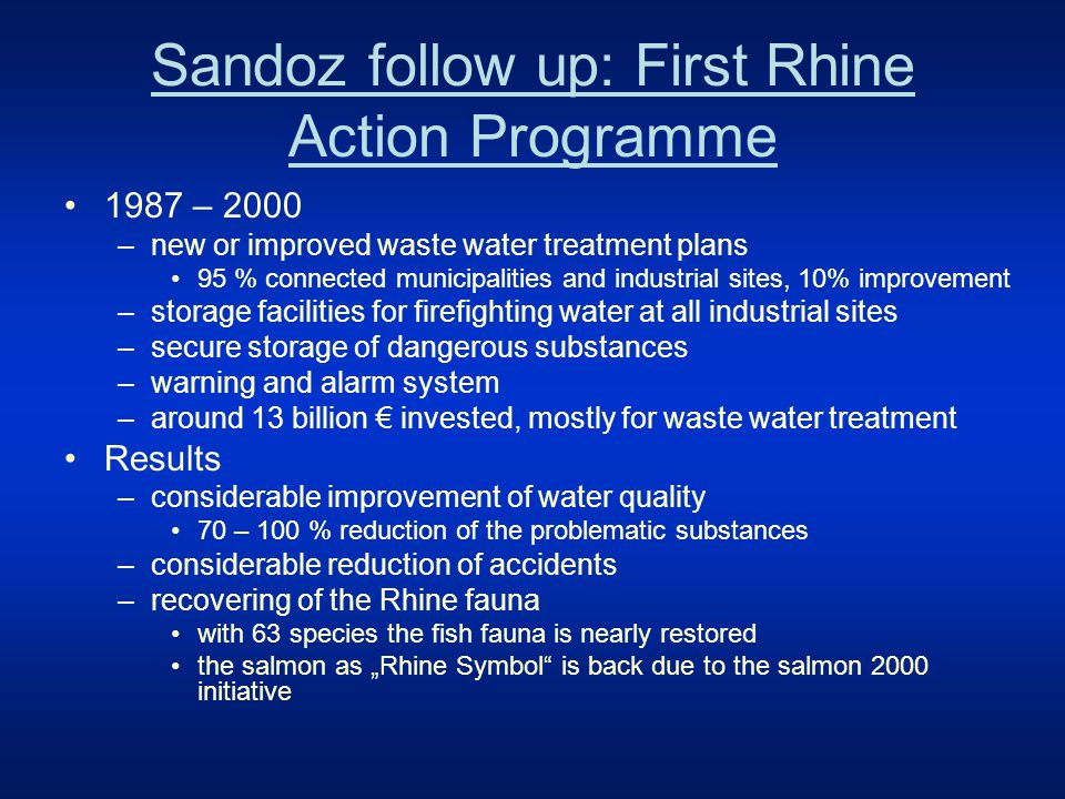 Fishes in the River Rhine 1950 - 2000 195019692000 without treatment treatment and monitoring