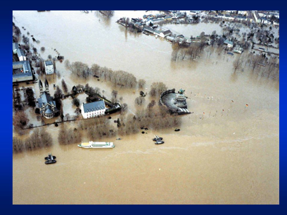 Rhine flood action plan Targets –reduce damage risks 2005: 10%, target: 25% (2020) –reduce high-water levels 2005: 30%, target: 70% (2020) –increase flood awareness e.g.