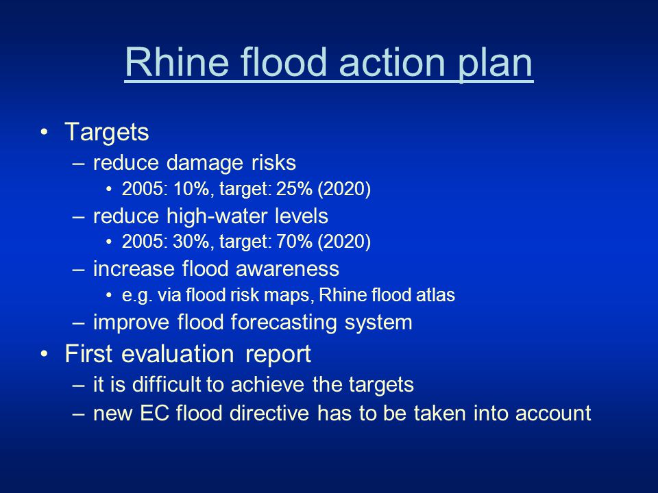 Rhine Flood Atlas Flood risk maps From Lake Constance to the North Sea 34 maps, 1:10.000 Information on damage risks Awareness raising