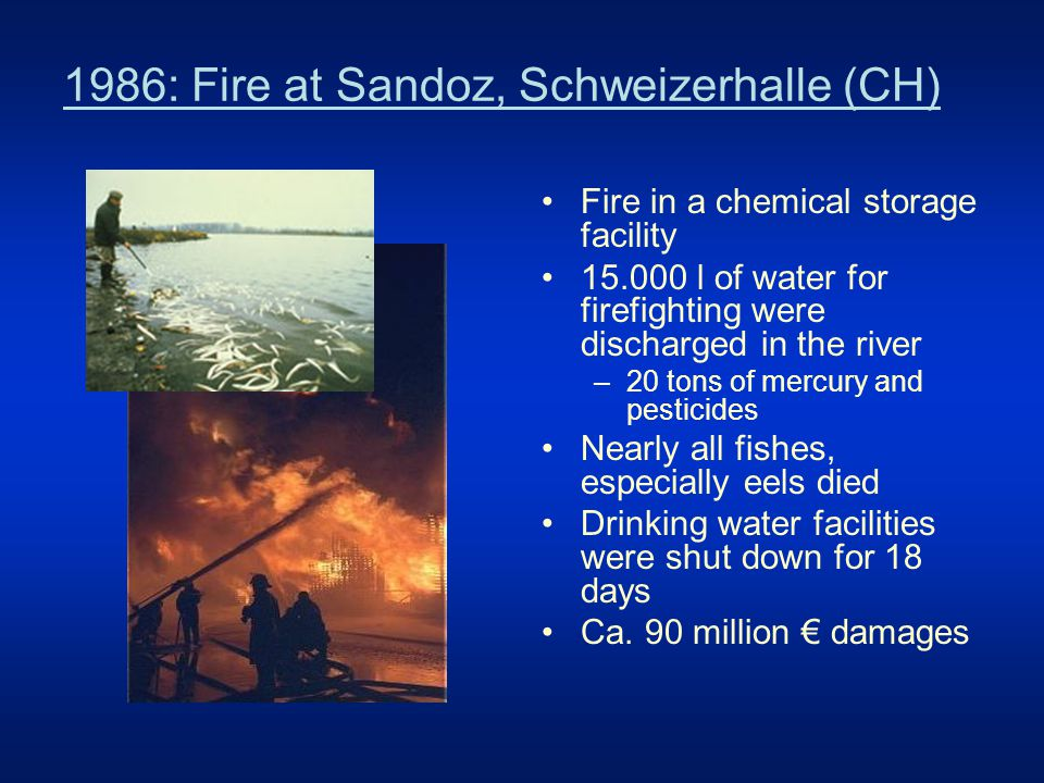 """Sandoz follow up: First Rhine Action Programme 1987 – 2000 –new or improved waste water treatment plans 95 % connected municipalities and industrial sites, 10% improvement –storage facilities for firefighting water at all industrial sites –secure storage of dangerous substances –warning and alarm system –around 13 billion € invested, mostly for waste water treatment Results –considerable improvement of water quality 70 – 100 % reduction of the problematic substances –considerable reduction of accidents –recovering of the Rhine fauna with 63 species the fish fauna is nearly restored the salmon as """"Rhine Symbol is back due to the salmon 2000 initiative"""