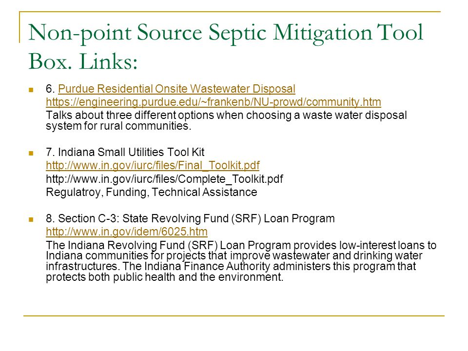 Summary There is a need for rural sewers in Indiana.