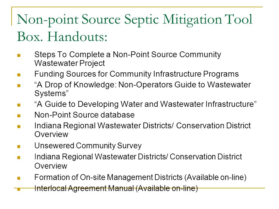 Non-point Source Septic Mitigation Tool Box.Links: 1.