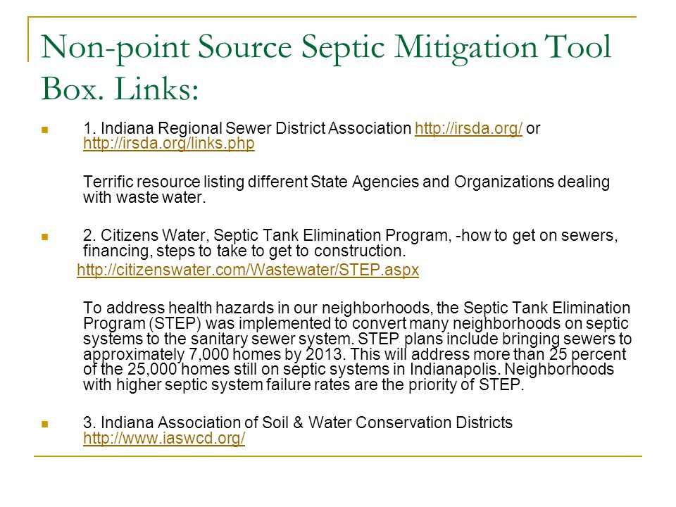 Non-point Source Septic Mitigation Tool Box.Links: 4.