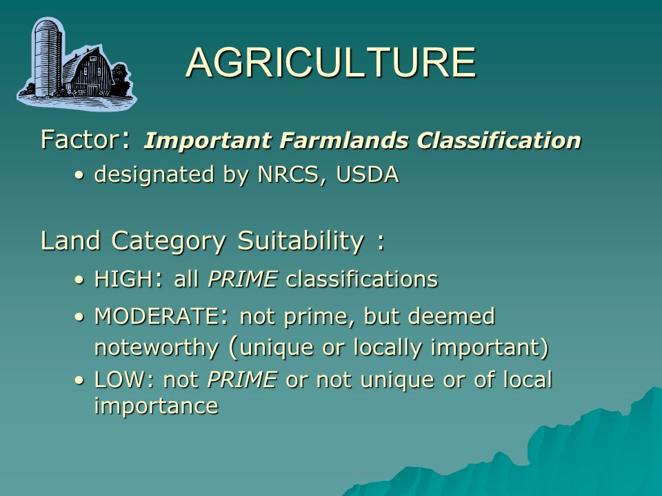 Areas of HIGH SUITABILITY for AGRICULTURE