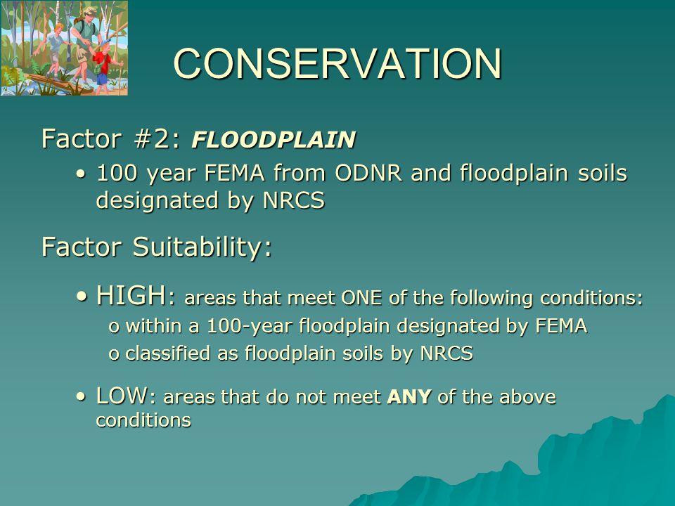 Areas of HIGH SUITABILITY for Floodplains