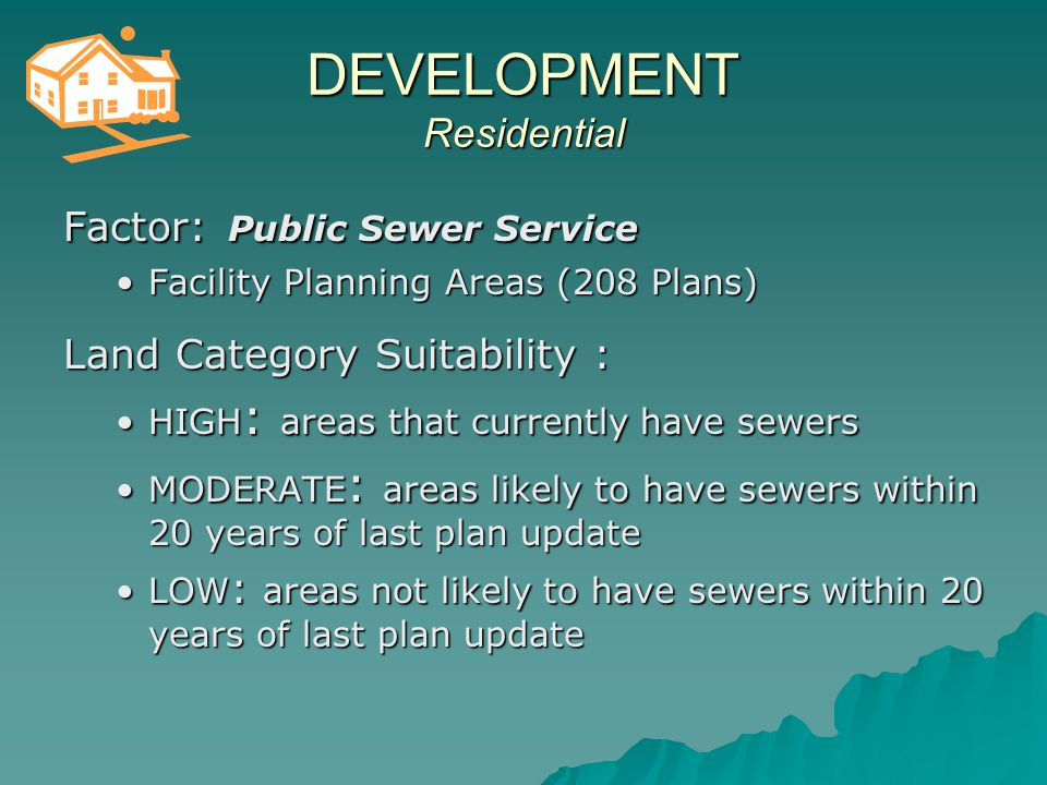 Areas of HIGH and MODERATE SUITABILITY for Residential Development