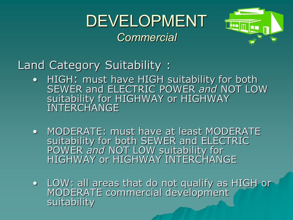 Areas of HIGH SUITABILITY for Commercial Development