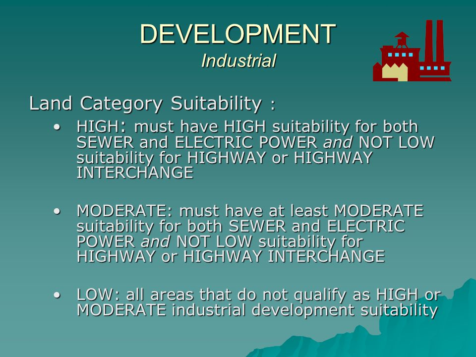 Areas of HIGH SUITABILITY for Industrial Development