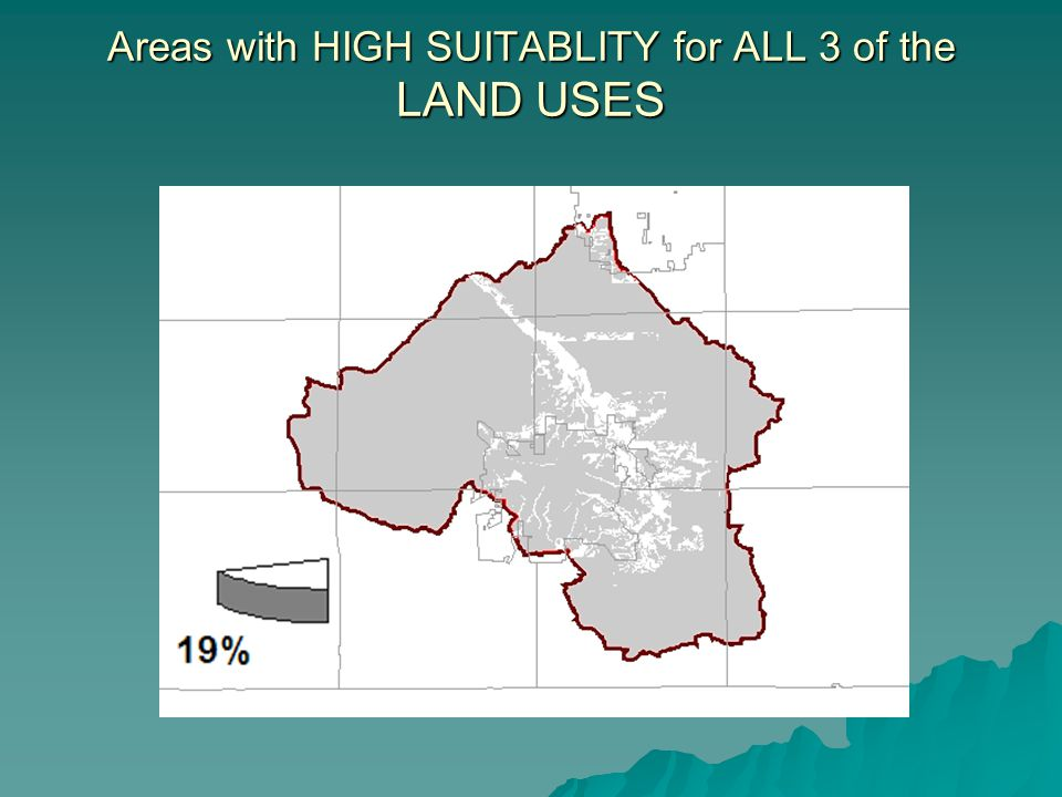 Areas with NO HIGH SUITABLITY for ANY of the 3 LAND USES