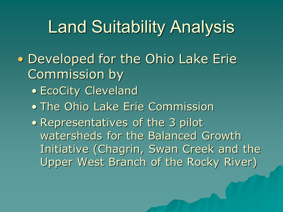 AGRICULTURE Land Suitability
