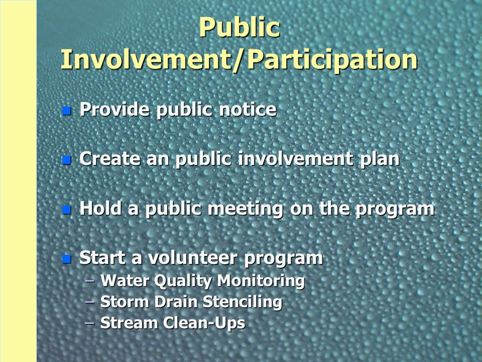 Illicit Discharge Detection and Elimination n Develop storm sewer system map n Implement program to detect non-storm water in system n Educate community on problems related to dumping in storm sewers