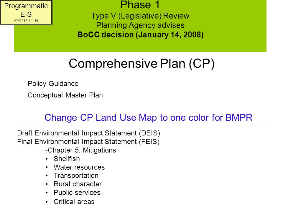 Phase 2 Supplement Environmental Impact Statement (SEIS) Type V (Legislative) UDC Amendment Review PC Recommendation & BoCC Decision Zoning Regulations –Zones (including open space and natural areas) –Bulk and dimension –Setbacks –Height –Impervious surfaces –Uses –Development standards –Zoning map (denoting zones with colors within BMPR) Development Agreement –Requirement to have MOUs –Land use and density –Goals and Objectives –Standards for review Zoning Critical areas Stormwater Platting standards Water and sewer services SEPA County review Vesting Legal descriptions Phasing elements & guidelines Project level SEIS Must be consistent with CP, Land Use Map, and Adopting Ordinance