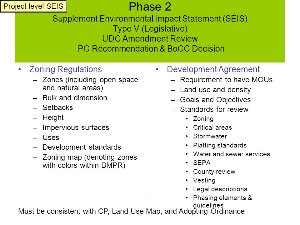 Phase 3 Types l, ll, and lll (Administrative and Quasi-Judicial) Review Administrative and Hearing Examiner Decisions Applications for Development Permits Plat/Binding Site Plan (BSP) Forest Practice Class IV General Conversion to another use Permit Shoreline Permits Stormwater Permits Entire site Habitat plan Water System Plan Approval (DOE and DOH) Sewer Plan Resort Plan Approval w/ construction-level detail Buffers Open space Mitigations Final Memoranda of Understanding (MOU's) w/ school, fire, etc.