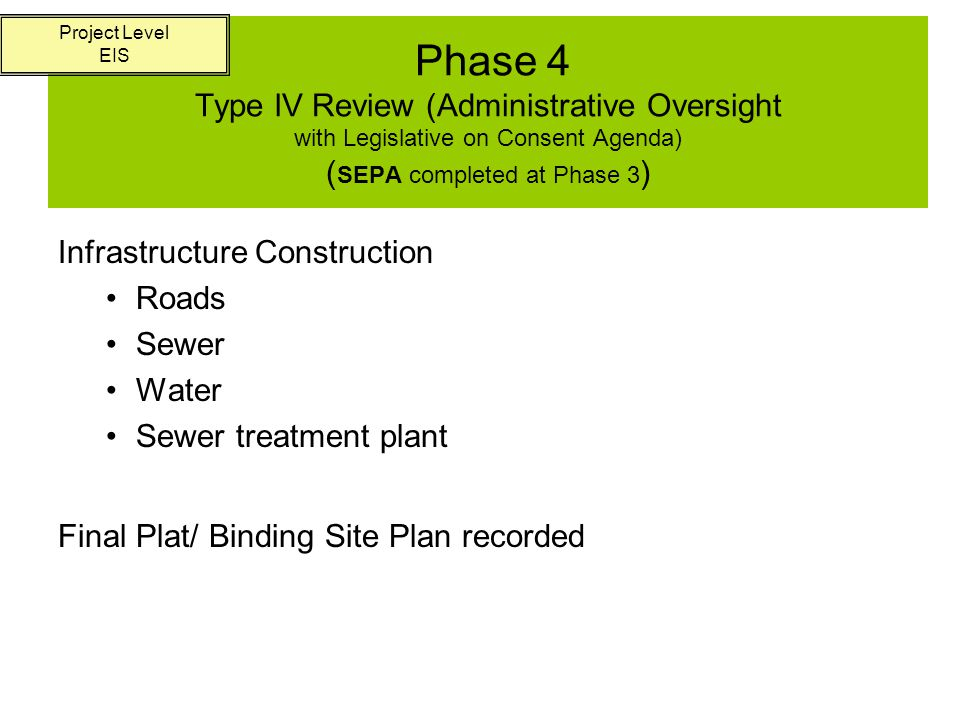 Phase 5 Type l (Administrative) Review ( Project-level SEPA Threshold Determination) Building Permits Construct Buildings Project Level EIS