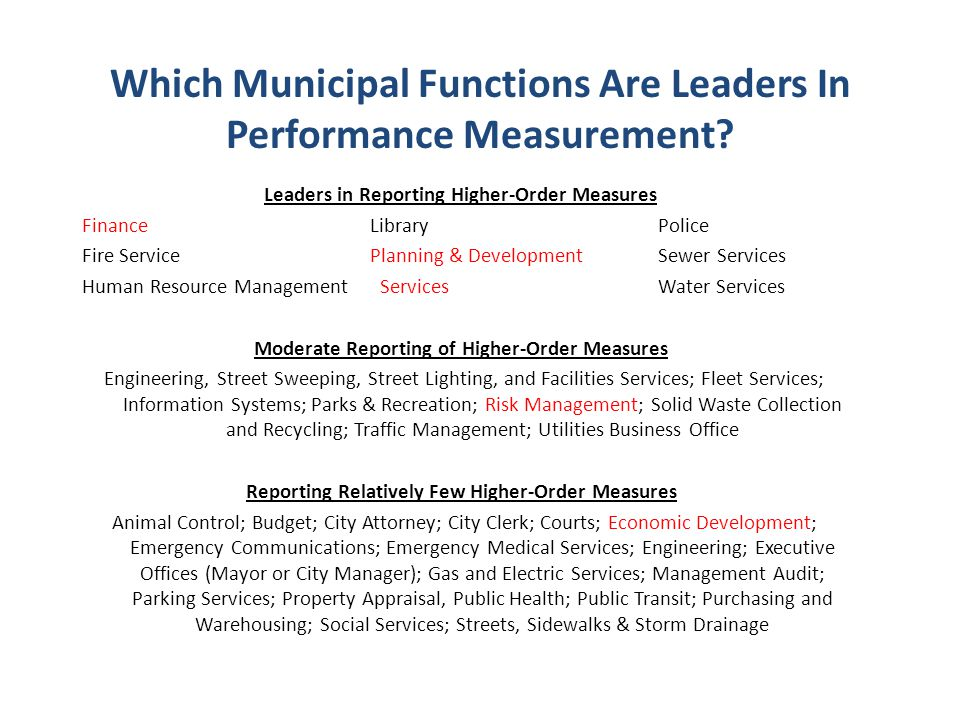 Which Municipal Functions Are Leaders In Performance Measurement.