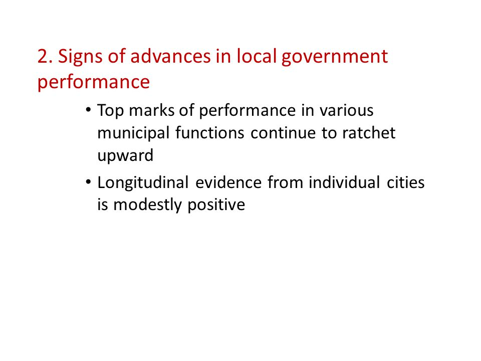 Performance Improvement or Decline among Cities Reporting a Given Measure in Two or More Study Segments Municipal Function Service Dimension No.