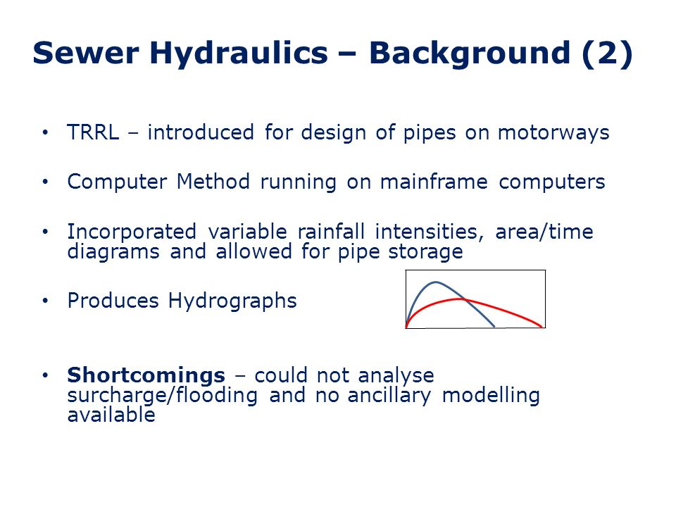 Sewer Hydraulics – Background (3) 1981 – Wallingford Procedure (Four Main Volumes) Software – WASSP running on mainframes Utilised rainfall data from the 1975 Flood Studies Report and rainfall/runoff research for urban areas Separate inputs (RED, SSD) and models for rainfall, urban rainfall/runoff process, pipe analysis and ancillaries Pipe analysis included surcharge and flooding (although to a limited extent)