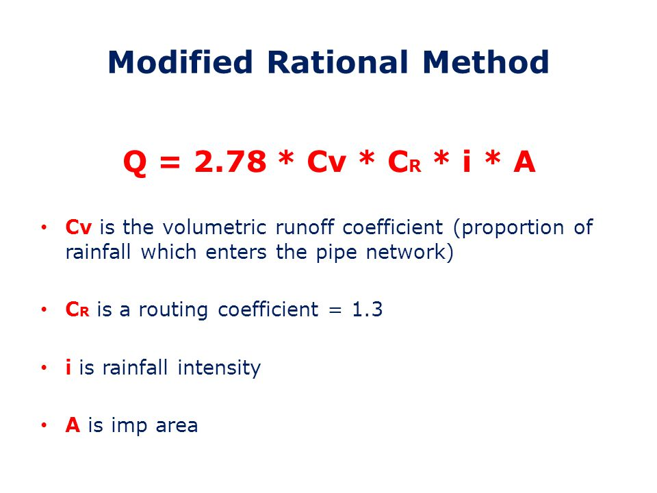 MRM – Input Parameters 1.Site Areas (Impermeable and Permeable) 2.Rainfall (M5-60, ratio and SAAR) 3.Soil Type/Soil Index 4.Time of Entry 5.Time of Flow