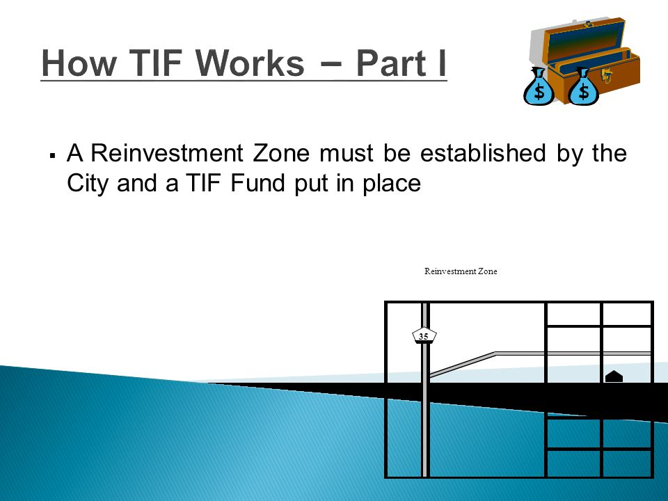 How TIF Works – Part II  The City and other taxing entities continue to receive the previously assessed and levied property taxes from within the Zone Reinvestment Zone 35