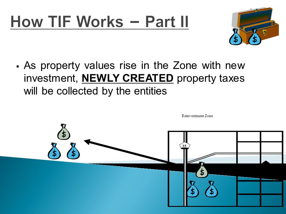 How TIF Works – Part IV  These incremental property taxes will then be deposited by each entity in a TIF Fund TIF FUND Reinvestment Zone 35