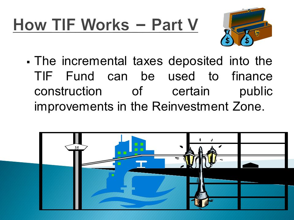 Eligible Uses for TIF Proceeds  Development of Project plans and designs  Acquisition of property for public uses  Due Diligence Costs  Financing Costs  Administrative Costs  Site Preparation  Utilities  Streets & Street Lights  Pedestrian Walkways  Parks  Drainage Facilities  Water/Sewer Facilities  Educational Facilities  Parking Facilities