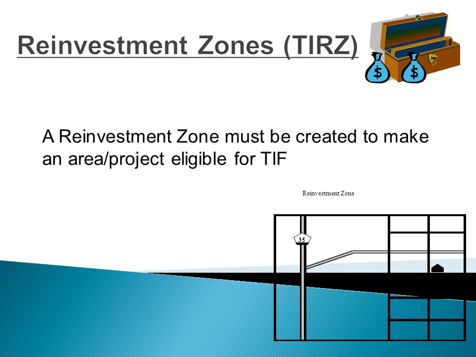 Creation of TIRZ  Created by Ordinance  Must be contiguous  Determination that development or redevelopment would not occur solely through private investment in the reasonably foreseeable future  A preliminary reinvestment zone financing plan must be approved before the Zone can be created  A public hearing must be held