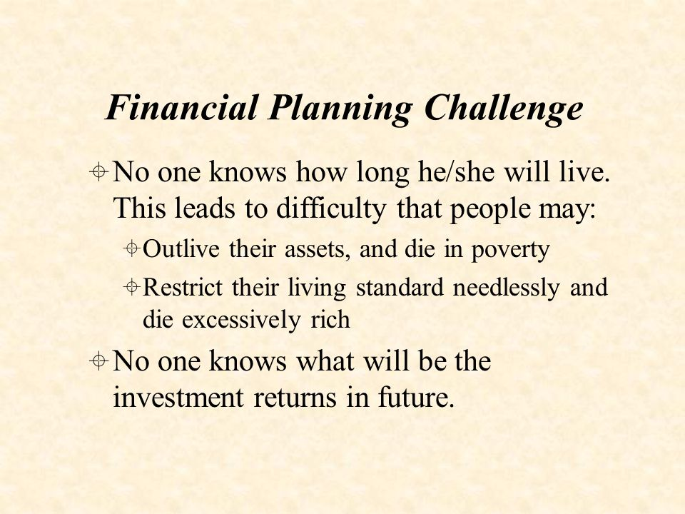 Annuity Solution  Solution to the financial planning challenge is to insure against longevity, passing the risk to the insurer  Annuities take large premium and turn it into fixed income stream until death providing insurance against longevity and investment risk  Many types with added protection and cost
