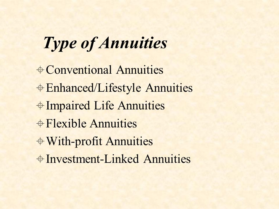 Conventional Annuities  Safest type of annuity for retiree  Guaranteed income regardless of investment conditions and life span  Medical examination would generally not be required  Downside - locked into the annuity rate prevailing at the time - if the interest rates improve in future, retiree will miss out