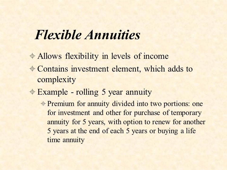 With-profit Annuities  Pays bonuses based on performance of the fund  Bonuses are smoothed  Allows participation in investment returns, whilst giving smoothed income stream