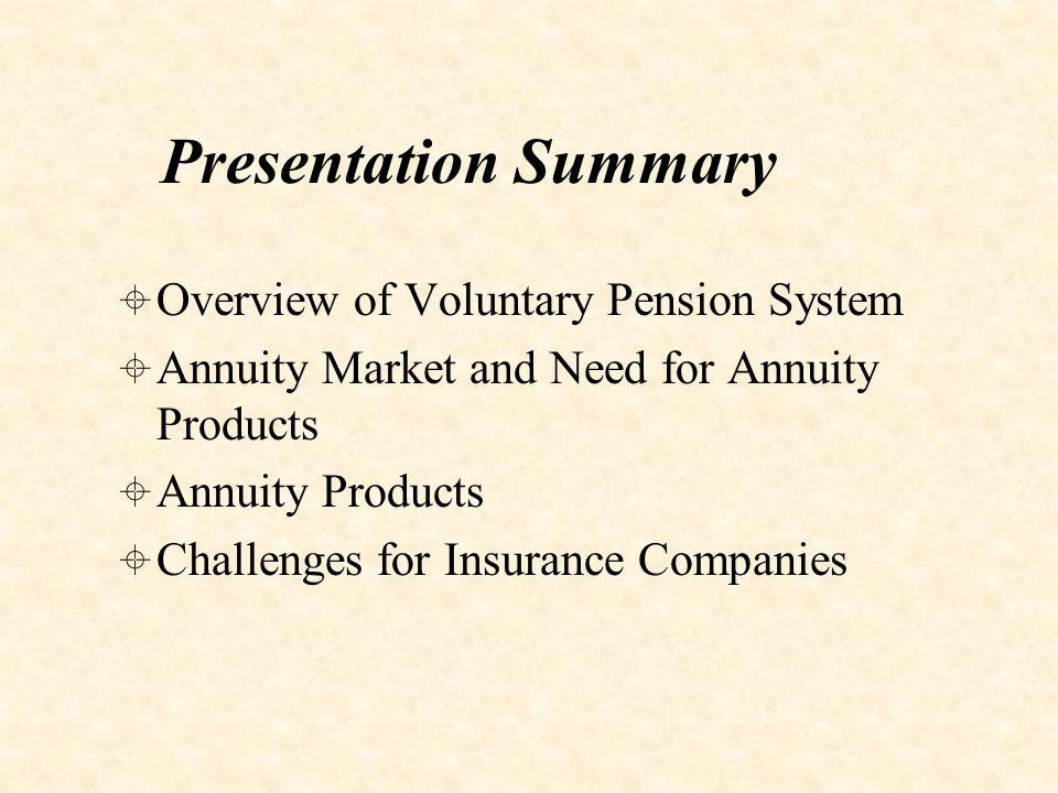 Overview of Voluntary Pension System