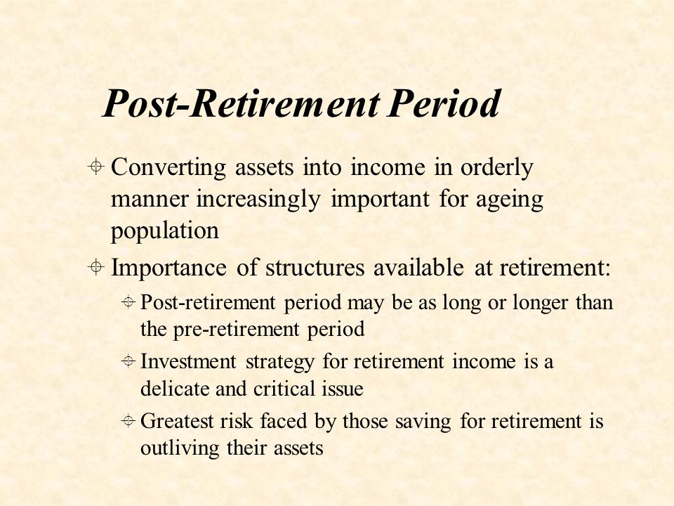 Options Available at Retirement in VPS 1.