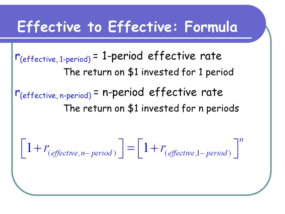 Effective to Effective: n>1 The effective monthly rate is 1%, what is the effective annual rate.
