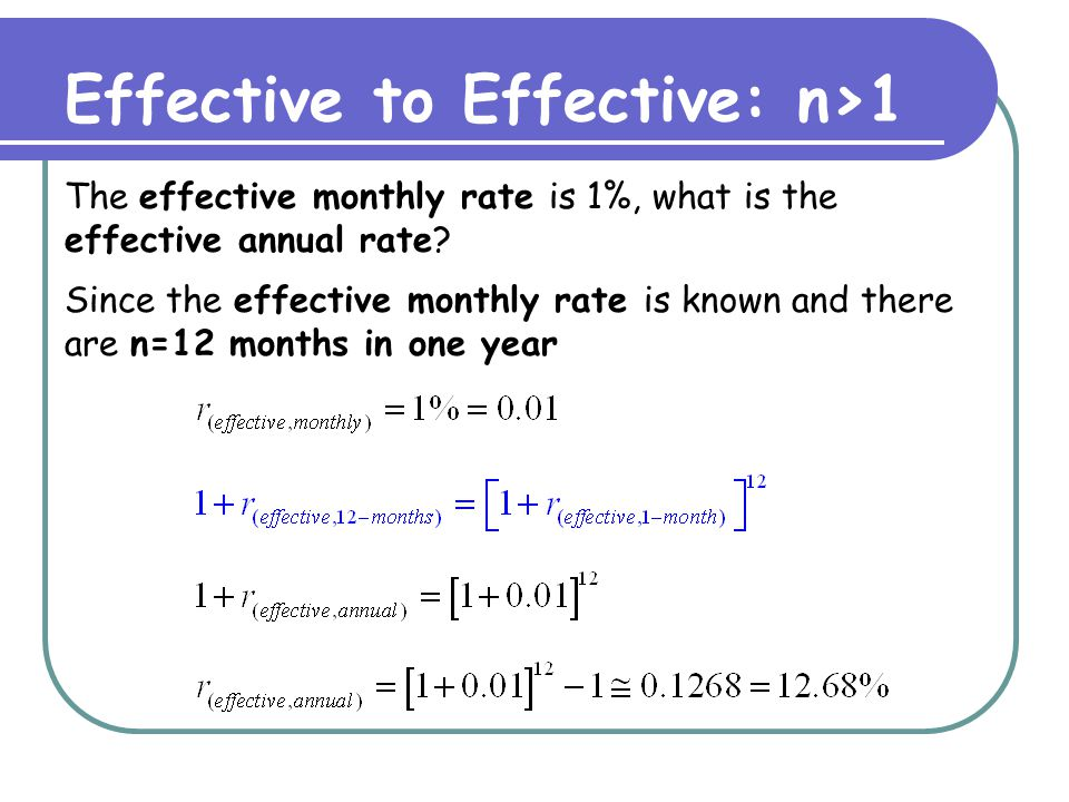 Effective to Effective: n>1 The effective monthly rate is 1%, what is the effective quarterly rate.