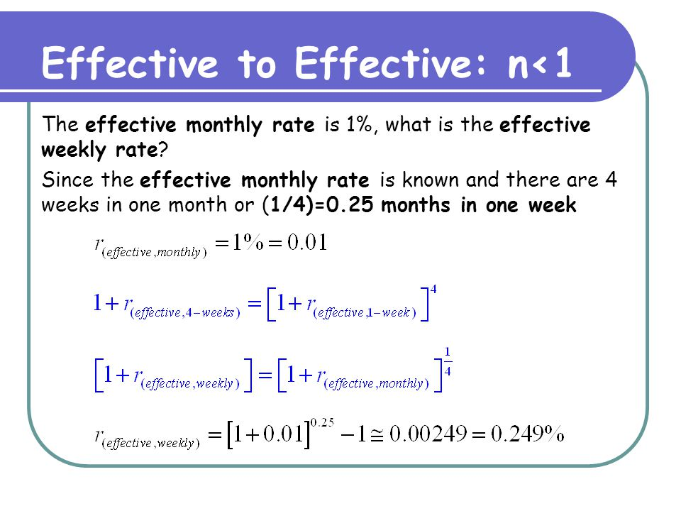 Effective to Effective: n<1 The effective annual rate is 12%, what is the effective rate for 10 months.