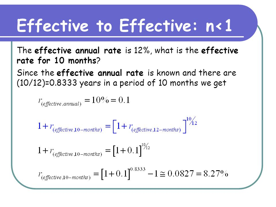 Quoted to Effective: Example The offer: a credit card with 9% APR (annual percentage rate).