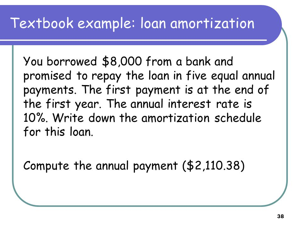 39 Textbook example: loan amortization We separate each payment into two parts: ☺ Interest payment ☺ Repayment of principal For a fixed payment loan: ☺ Total payment is fixed ☺ Interest payment decreases over time ☺ Principal repayment increases over time