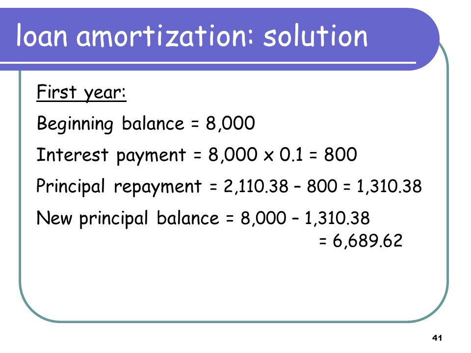 42 Amortization schedule Date Beginning Balance Total Payment Interest (10%)Principal End Balance 08,000.00 1 2,110.388001,310.386,689.62 2 2,110.38 3 4 5