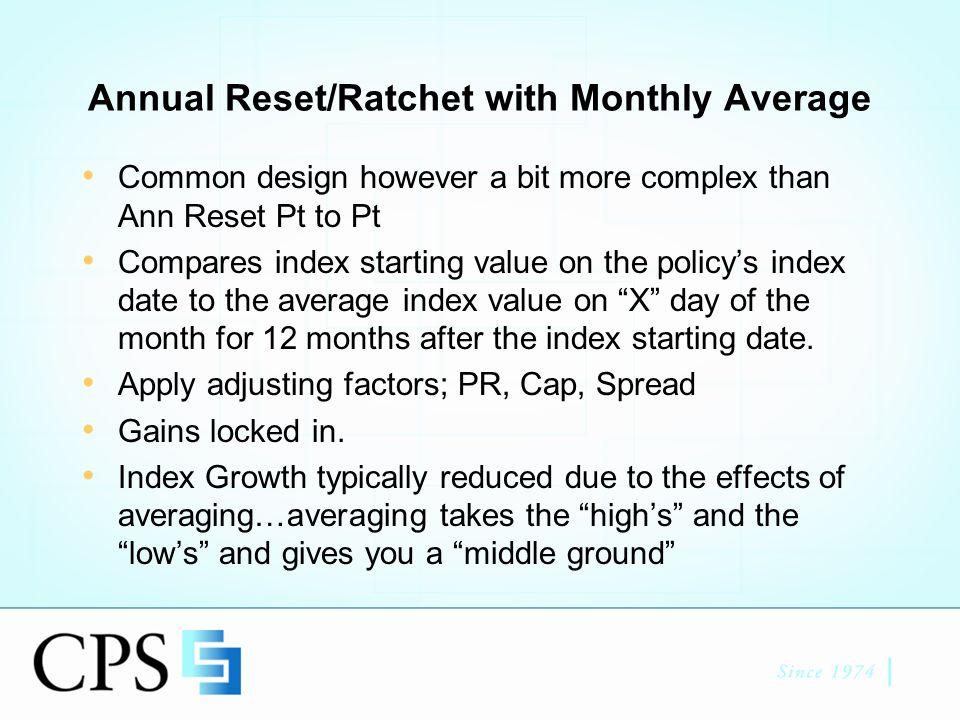 Ann Reset/Ratchet w/ Mo.Avg. 100K Premium, 100% PR, 0.10% spread.