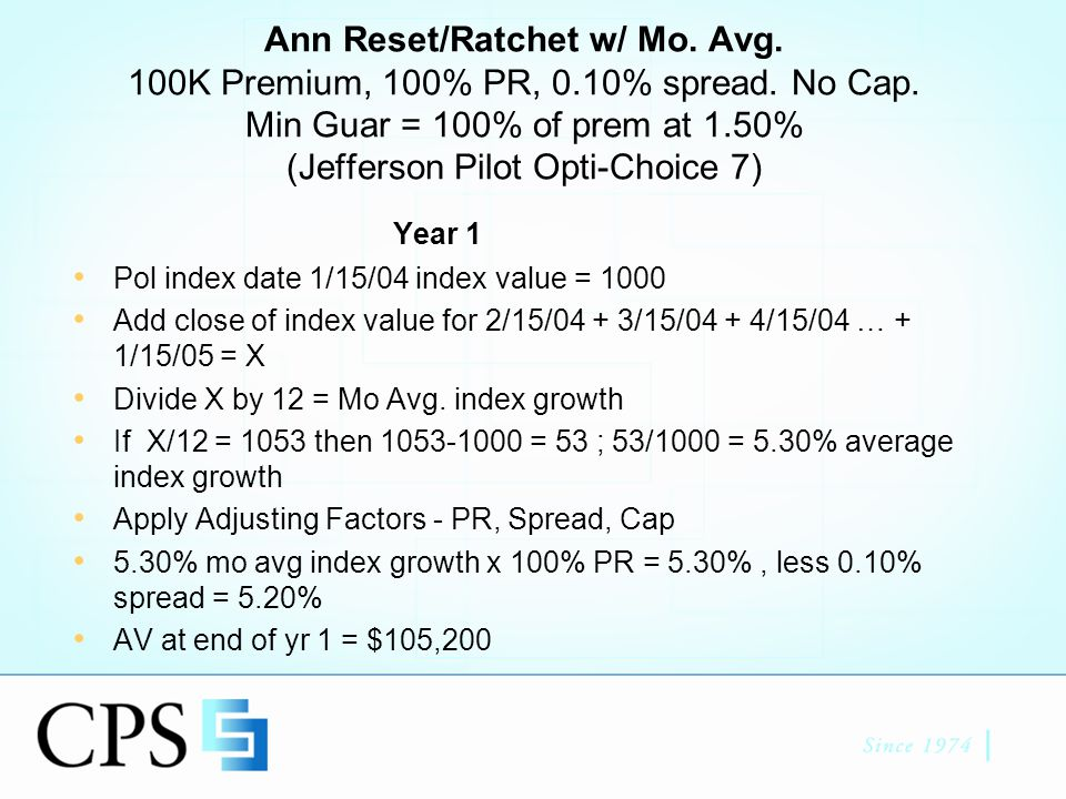 Annual Reset w/ Monthly Average continued Year 2 Accum Value = $105,200 Pol index date 1/15/05 index value = 1100 Avg index value on 15 th day of month for next 12 mo = 920 (Negative index return) No reduction to AV (Ratcheting) Min Guar Value = 100K @ 1.5% for 2yrs = $103,023 If client cancels they get the higher of $105,200 or $103,023, less surrender charges (2 Lines of Money) End of Yr 2 AV = $105,200