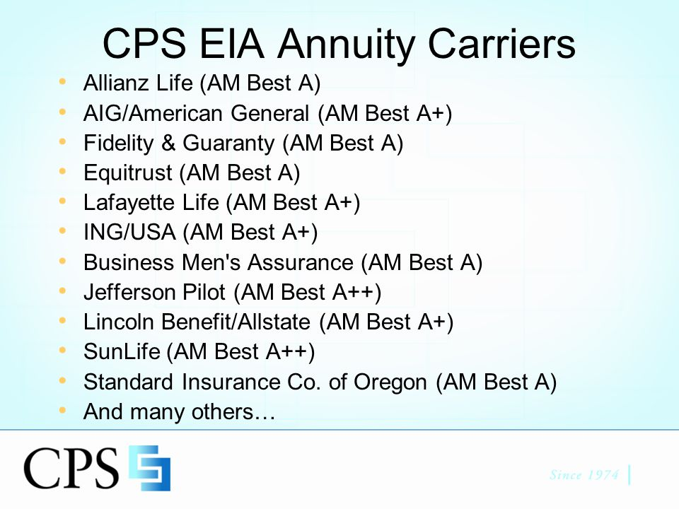 CPS Insurance Website www.CPSInsurance.com –Product Info; Current Rates; State Availability –41 Compliance approved client handouts –25 Broker focused training handouts –Lic/Contracting & Application Forms –Real time case status –Carrier strength & ratings info - Vital Signs –Client EIA Presentation Work Sheets –Multimedia Client and Agent Presentations –NEW EIA SECTION !!!
