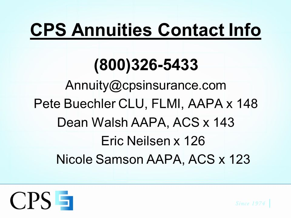 Thank you CPS Annuities